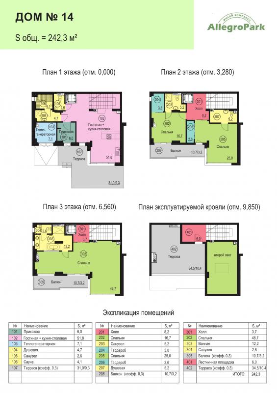 Планировка Дом площадью 242.3 кв.м в ЖК «Аллегро Парк»