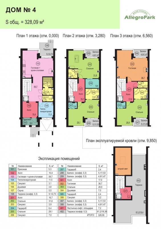 Планировка Дом площадью 328.09 кв.м в ЖК «Аллегро Парк»